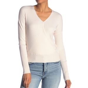 Elodie White Ribbed Wrap Sweater